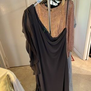 Ralph Lauren one shoulder grey evening gown!